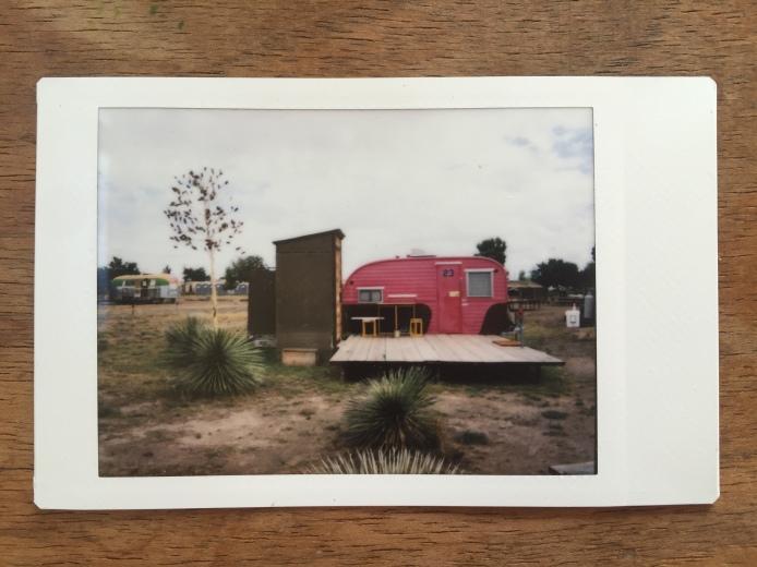 A room at El Cosmico, a trailer motel